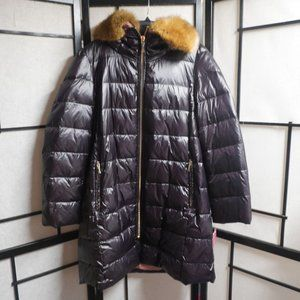 Kate Spade New York Satin Faux Fur Hood Quilted